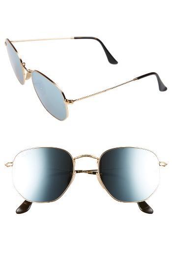 Women's Ray-ban 54mm Oval Aviator Sunglasses - Gold/ Grey