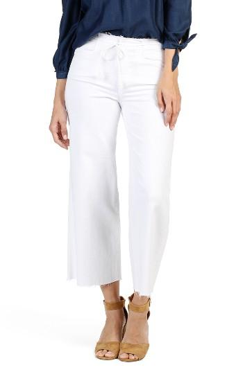 Women's Paige Lori Raw Waist Crop Wide Leg Jeans - White