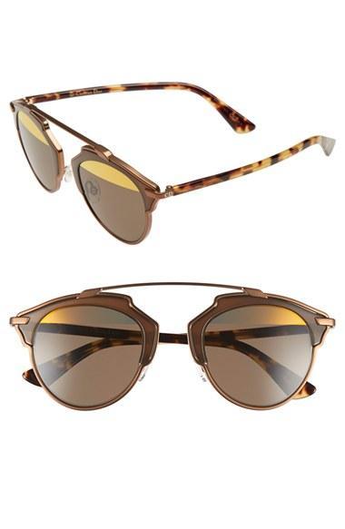 Women's Dior So Real 48mm Brow Bar Sunglasses - Bronze/ Havana
