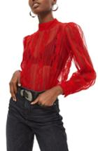 Women's Topshop Pintuck Lace Blouse Us (fits Like 0) - Red