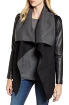 Women's Mackage Vane Asymmetrical Leather Sleeve Coat