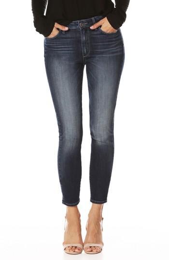 Women's Paige Transcend Vintage - Hoxton High Waist Crop Ultra Skinny Jeans - Blue