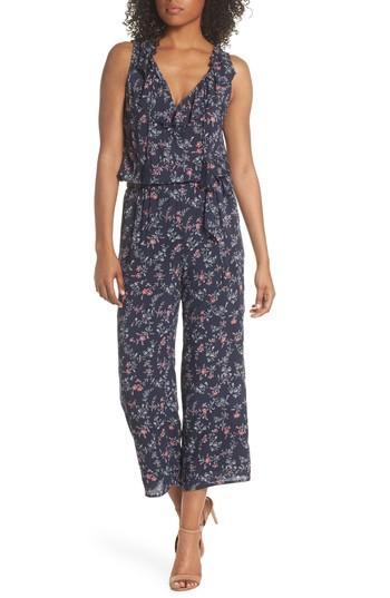 Women's Paige Paletta Floral Print Crop Jumpsuit - Blue