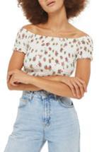 Women's Topshop Floral Off The Shoulder Crop Top Us (fits Like 14) - Ivory