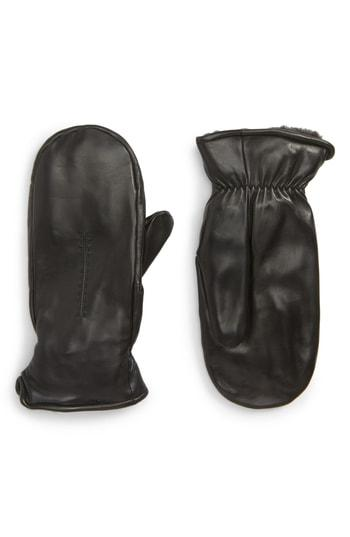 Women's Nordstrom Faux Fur Lined Leather Mittens - Black