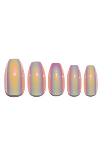 Static Nails Peach Fizz Holographic Pop-on Reusable Manicure Set - Peach Fizz