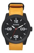 Men's Nixon 'the Corporal' Leather Strap Watch, 48mm