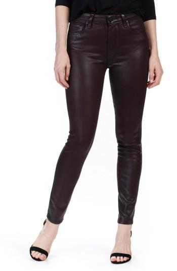 Women's Paige Transcend - Hoxton High Waist Ankle Skinny Jeans - Red