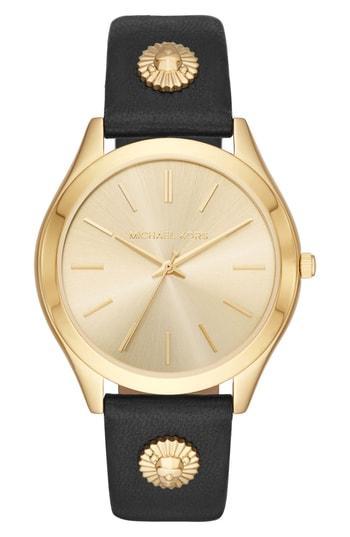 Women's Michael Kors Slim Runway Leather Strap Watch, 42mm