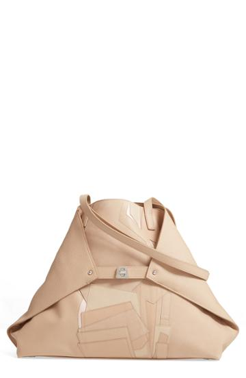 Akris Small Ai Pieced Leather Tote - Beige