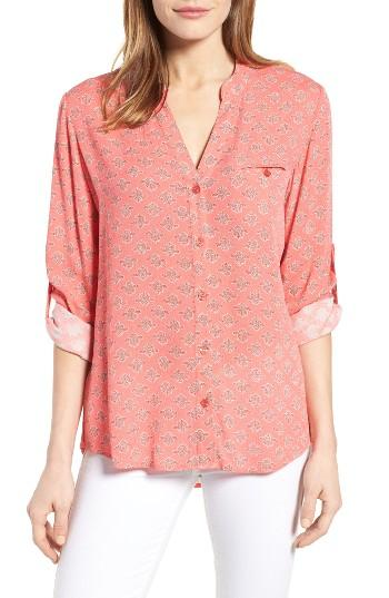 Women's Kut From The Kloth Jasmine Print Roll Sleeve Blouse - Coral