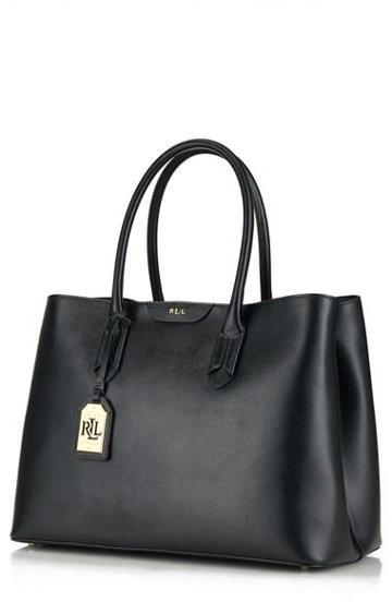 Lauren Ralph Lauren Leather Tote Black/
