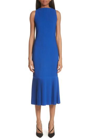 Women's Brandon Maxwell Pintuck Flare Hem Dress - Blue