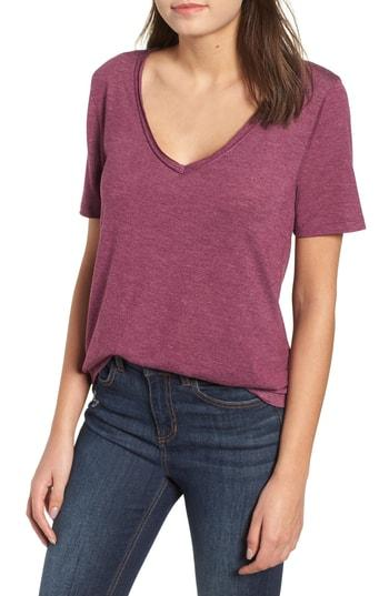 Women's Bp. Raw Edge V-neck Tee - Purple