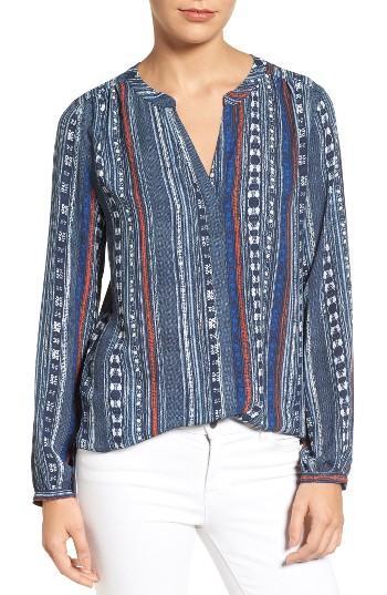 Petite Women's Nydj Pleat Back Blouse, Size P - Blue