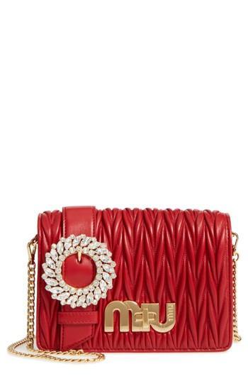 Miu Miu Matelasse Leather Shoulder Bag - Red