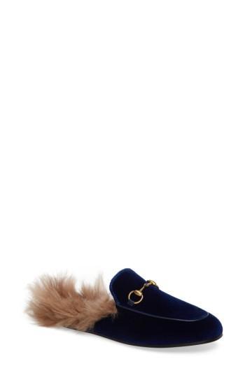 Women's Gucci 'princetown' Genuine Shearling Mule Loafer .5us / 37.5eu - Blue