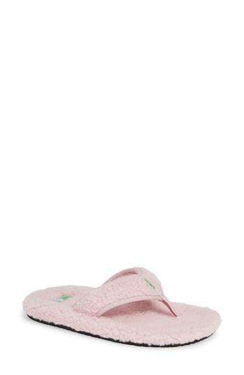Women's Sanuk Furreal Faux Fur Flip Flop M - Pink