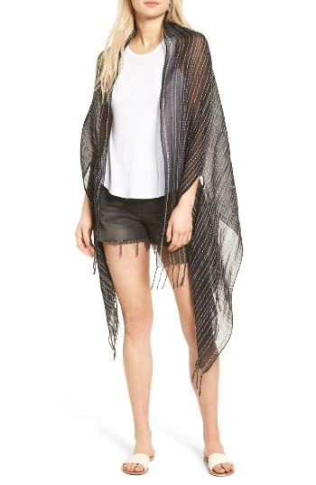 Women's Madewell Vertical Stripe Cape, Size - Black