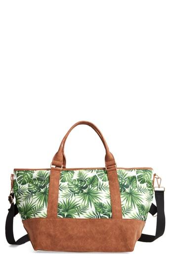 Violet Ray New York Palm Print Canvas Weekend Bag - Green