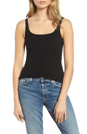 Women's 7 For All Mankind Rib Knit Tank Top - Black
