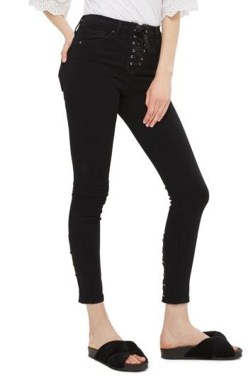 Petite Women's Topshop Jamie Lace-up Fly Skinny Jeans X 28 - Black