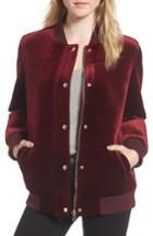 Women's Members Only Velvet Bomber Jacket - Red