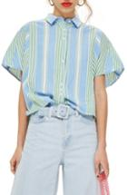 Women's Topshop Boxy Stripe Shirt Us (fits Like 0) - Blue