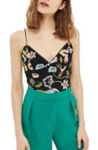 Women's Topshop Floral Embroidered Bodysuit Us (fits Like 0) - Black