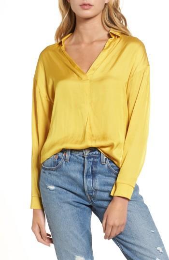 Women's Lush Satin Henley - Yellow