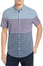 Men's Original Penguin Heritage Slim Fit Colorblock Stripe Shirt - Purple