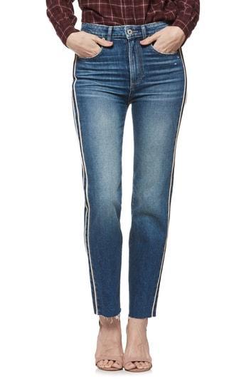 Women's Paige Hoxton Side Stripe High Waist Straight Leg Ankle Jeans - Blue
