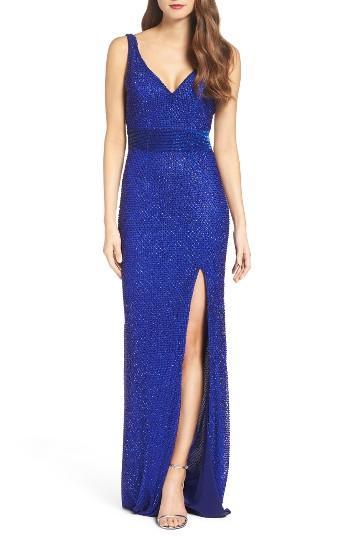 Women's Mac Duggal Beaded Mesh Gown - Blue