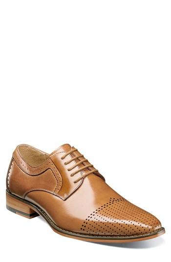 Men's Stacy Adams Sanborn Perforated Cap Toe Derby M - Brown