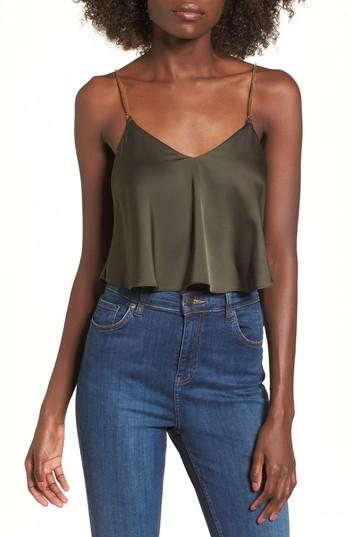 Women's Topshop Chain Strap Camisole Top Us (fits Like 0-2) - Green