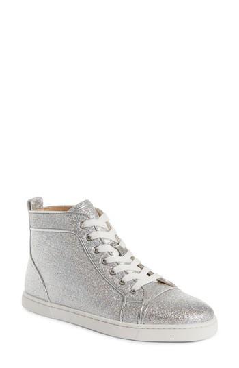Women's Christian Louboutin Orlato Metallic High Top Sneaker Us / 35eu - Metallic