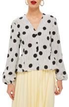 Women's Topshop Spotted Peplum Blouse Us (fits Like 0) - Black