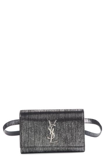 Saint Laurent Kate Lame Lambskin Leather Belt Bag - Black