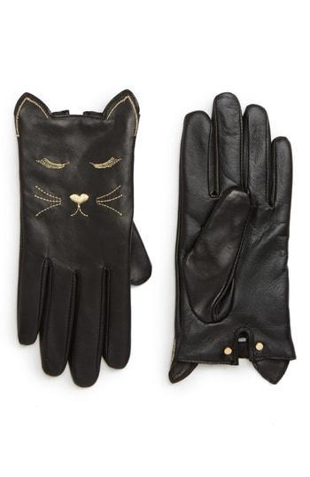 Women's Ted Baker London Cat Leather Touchscreen Gloves - Black