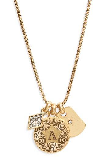 Women's Treasure & Bond Triple Charm Initial Pendant Necklace