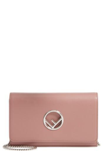Women's Fendi Liberty Logo Calfskin Leather Wallet On A Chain - Pink