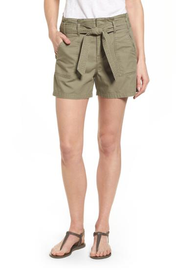 Petite Women's Caslon Belted Twill Shorts P - Green