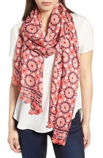 Women's Kate Spade New York Floral Mosaic Silk Scarf, Size - Pink