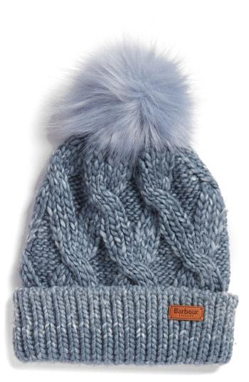 Women's Barbour Bridport Pom Beanie - Blue