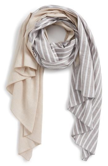 Women's Donni Charm Diagonal Print Cotton & Linen Scarf, Size - Grey