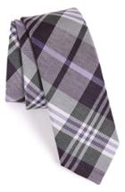 Men's The Tie Bar Plaid Silk & Linen Tie, Size - Purple