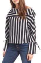 Women's Topshop Spliced Poplin Shirt Us (fits Like 0) - Black