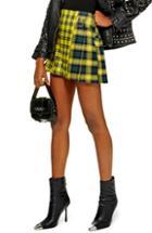 Petite Women's Topshop Mix Check Kilt Miniskirt P Us (fits Like 00p) - Yellow