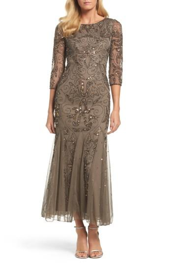 Petite Women's Pisarro Nights Embellished Mesh Gown P - Brown