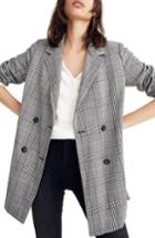 Women's Madewell Caldwell Plaid Double Breasted Blazer, Size - Black